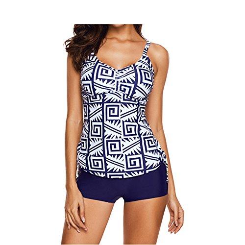 Eleoption Two Piece Swimsuit Set With Boyleg Swim Short Cover Ups Bathing Suit Bikini Swimsuit Sport Suit For Lady Teens Girls (M, White) (XXXL, V-Dark (Boyleg Set)