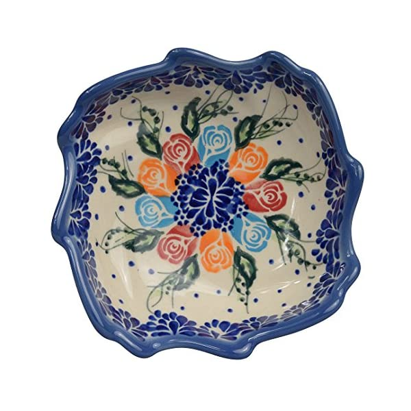 Traditional Polish Pottery, Decorative Snack & Dip Bowls, Handcrafted Ceramic Shell Bowl (200ml), Boleslawiec Style Pattern, M.501.ROSY