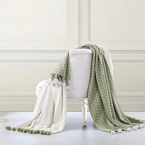 Amrapur Overseas Cross Stitch 100% Cotton Throw Blanket with Pom Pom Fringe - 2 Pack (Sage)