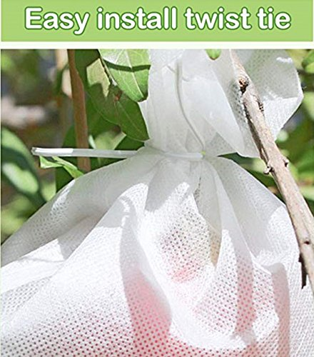 LAVZAN 11.8''X13.7'' (50pcs) Non-Woven Fruit Protect Bags With Twist Tie Waterproof Breathable Protect Your Fruit From Birds Insects Squirrels by LAVZAN (Image #4)