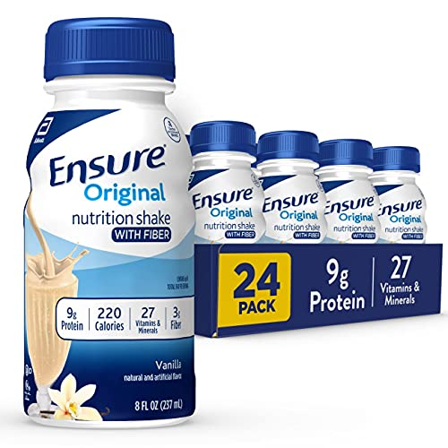 Ensure Original Nutrition Shake with Fiber, 9g High-Quality Protein, Meal Replacement Shakes, 8, 24 Count, Vanilla, 192…