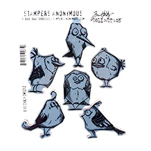 Stampers Anonymous Tim Holtz Cling Rubber Bird Crazy Stamp Set, 7 x 8.5""