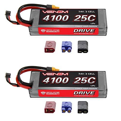 - Venom 25C 2S 4100mAh 7.4V Hard Case LiPo Battery with Universal 2.0 Plug (Traxxas / Deans / EC3) x2 Packs