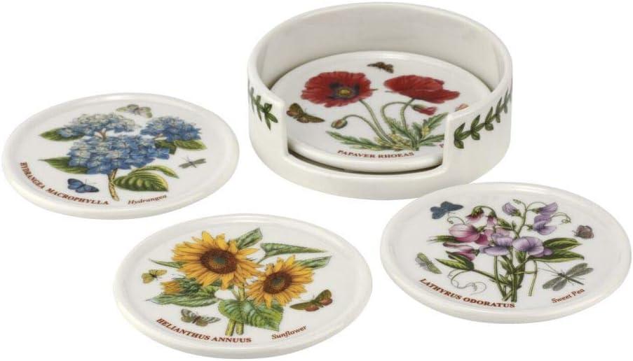Portmeirion BG79170-XP Botanic Garden Coaster Set of 4 and Holder, Ceramic