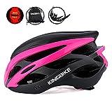 KINGBIKE Ultralight Specialized Bike Helmets with Rear Light + Portable Simple Backpack + Detachable Visor for Men Women(M/L,L/XL) (Black&Rose red, M/L(56-60CM))