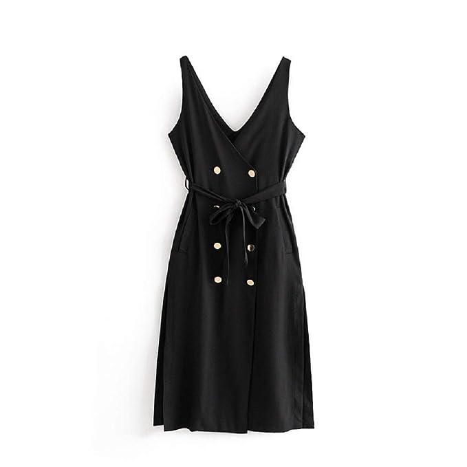 Yqdayshow Vestido Chaleco en Negro para Mujer Vestido Cintura sin Mangas  con cinturón Botones con Cuello en V Vestido Largo para Uso Diario  Amazon. es  Ropa ... 613ea693535f
