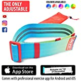 DeFiT Adjustable Hip Resistance Band - Hip Band (13'-17') Circle & Booty Bands - Fabric Resistance Bands - iOS/Android Professional Fitness Mobile App with Exercise eBooks, Videos & Nutrition Guides