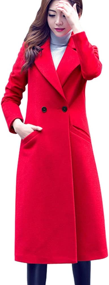 Womens Plus Size Overcoat Woolen Trench Coat Outwear Cardigan Winter Long Jacket