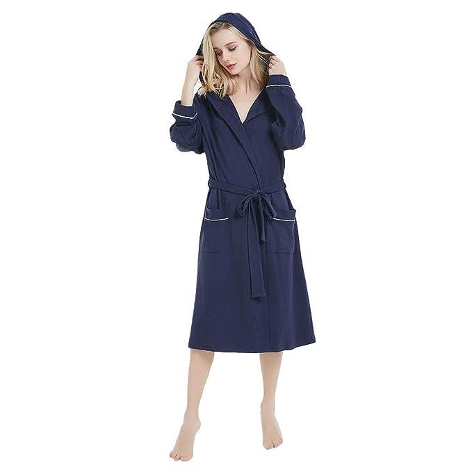 Conquro Bata de Color sólido de algodón cómoda para Mujer con Capucha Pijama Bata Ropa de ...