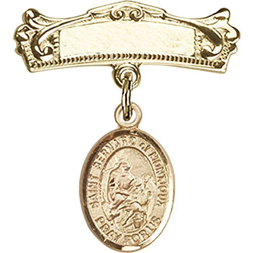 14kt Yellow Gold Baby Badge with St. Bernard of Montjoux Charm and Arched Polished Badge Pin 7/8 X 3/4 inches