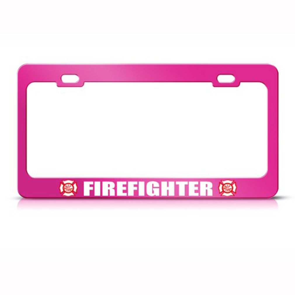 Speedy Pros Metal License Plate Frame Retired Firefighter Career Profession Car Accessories Chrome 2 Holes