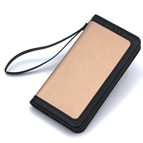 SRY-Bolsa para teléfono móvil Estilo de la moda del teléfono de la cáscara Color mixto Estilo de costura de cuero de la PU Horizontal Flip Funda de la caja con tarjeta Cash Slotf para iPhone 7 Plus /  Gold