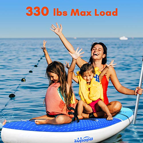 Zupapa 2019 Upgrade Inflatable Stand Up Paddle Board 6 Inch Thick 10 FT Kayak Convertible All Accessories Included