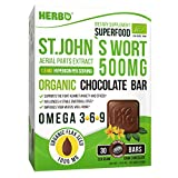 Herbo Superfood St. John's Wort Extract 500 mg Hypericin - Supplement in Organic Dark Chocolate - for Anxiety, Depression and Stress Relief - Premium Taste - with Omega 3 6 9 - Non-GMO, Gluten Free