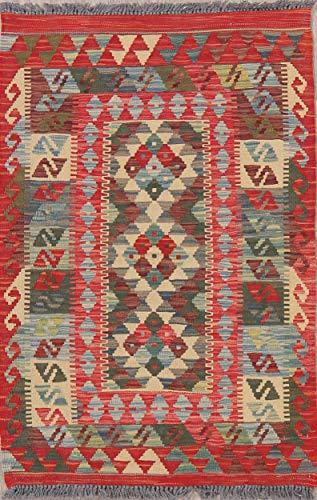 Turkish Wool Oriental Kilim Foyer Rug Hand-Woven Persian Geometric Rug New (3' 11'' X 2' 7'')