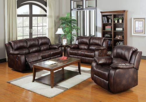 ACME 50300 Zanthe Left Facing Recliner with Brown Polished Microfiber