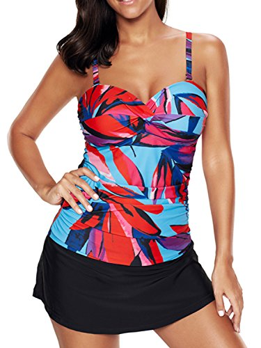 Zando Women Floral Printed Plus Size Swimsuit Crossover Tankini Top with Skirt Two Piece Swimwear Bathing Suit for Teen Rose Red L (US Size 8-10) ()