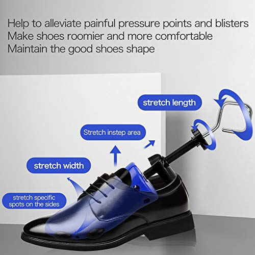 Shoe Stretcher Men, Pair of 4-way Adjustable Shoe Widener Expander to Stretch Length Width Height for Wide Feet, Tough Plastic Shoe Tree Shaper with Bonus 12 Bunion Plugs, Large by LANNEY (Image #2)