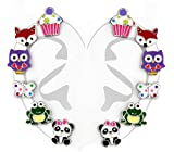 """Best Wing Jewelry .925 Sterling Silver""""Cupcake and Animals"""" Set Stud Earrings for Children and Teens (6 Pairs)"""