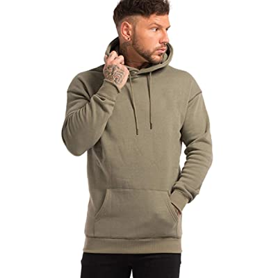 GINGTTO Mens Hoodies Pullover Casual Solid Color Hooded Sweathirts at Men's Clothing store