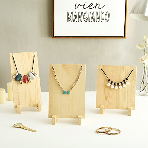 Decor Stand Collar - Vintage Style Beige Wood Plank Retail Boutique Necklace Jewelry Display Stands, Set of 3