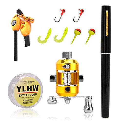 Mini Pocket Pen (BestBuyGoods Portable Mini Pocket Pen Fishing Rod Pole Reel With Two Baits Two Fishhooks Two Fishing-buoys and 20 Meters Fish Wire+ Survival Magnesium Firestarter Compass Whistle Orange (Black or Color Random))