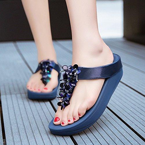 Sandalias NVXIE Verano Grueso Pensamiento de Temporada Mujeres Pendiente Zapatillas Playa Lentejuelas Zapatillas Blue Pellizcar Fondo xrfIrFq