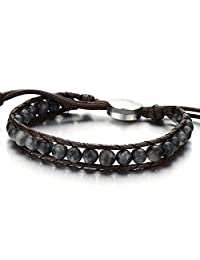 Mens Boys Beads Wrap Bracelet, Prayer Mala, Synthetic Gem Stones