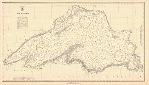 Map - Lake Superior, 1936 Nautical NOAA Chart - Vintage Wall Art - 63in x 36in (Superior Chart Depth Lake)