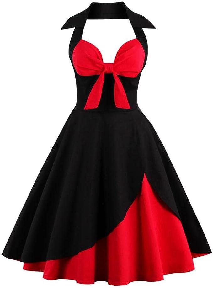 Longra Damen Rockabilly Kleid Neckholder Vintage Knielang Kleider Petticoat  Faltenrock Swing Partykleider Ärmellos Sommerkleider Festlich Abendkleider