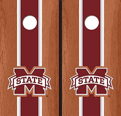 Mississippi State University ''M'' Maroon Rosewood Matching Long Stripe Cornhole Boards - Msu-8021