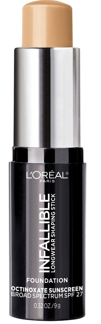 L'Oreal Paris Makeup Infallible Longwear Foundation Shaping Stick, Up to 24hr Wear, Medium to Full Coverage Cream Foundation Stick, 406 Warm Beige, 0.32 Ounce