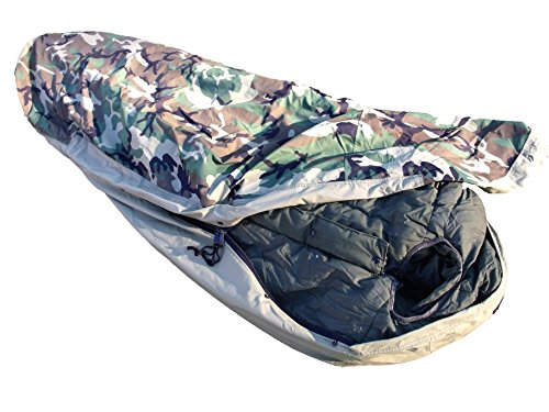 US Army Military Extreme Cold Weather ECW Winter Mummy -20F SUBZERO SLEEPING BAG + BIVY COVER Waterproof Camo Woodland by US Government USGI NSN: 8465-01-033-8057 (20f Mummy)