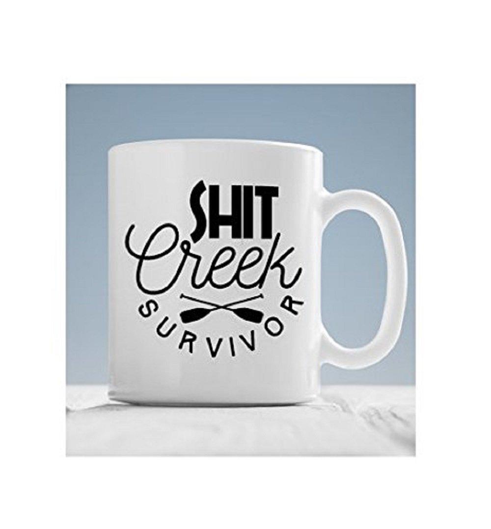 Shit Creek Survivor Coffee Mug, Camping Mug, Camp Mug, Funny Coffee Mug, Mugs with Sayings, Inappropriate Humor Mug