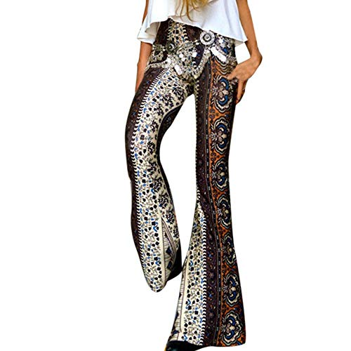 New 2019 HAALIFE ◕‿Women's High Waist Wide Leg Long Palazzo Bell Bottom Yoga Pants Brown