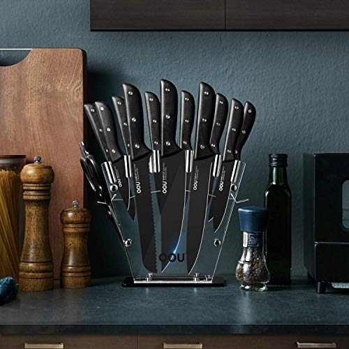 Knife Set, OOU 15 Piece Kitchen Knife Set, High Carbon Stainless Steel, FDA Certified BO Oxidation for Anti-rusting, Ultra Sharp Premium Edge Tech, Full Tang Black Chef Series by OOU! (Image #5)