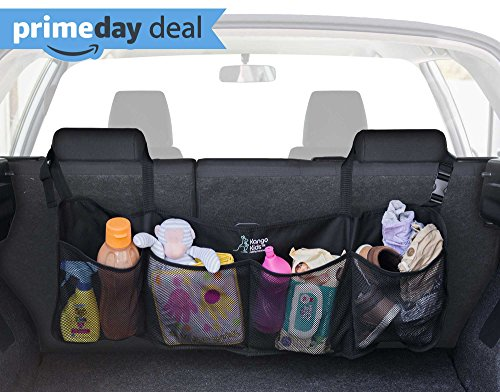 BEST AUTO TRUNK ORGANIZER - Keep your Car Clean and Organized. Durable Foldable Cargo Net Storage for More Trunk Space. Secure Car Organizer with Adjustable Straps to Fit All (Suv Storage)