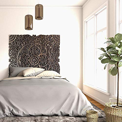 Traditional Queen Size Balinese Wooden Wall Hanging Panels Ideal For Bed Headboards Hand Carved In & Amazon.com: Traditional Queen Size Balinese Wooden Wall Hanging ...