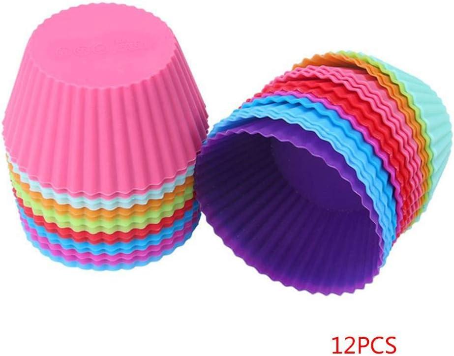 Deinbe 12st Kleine Silikon-Bunte runde Kuchen-Zwischenlagen Backf/örmchen Vibrant Muffin-Formen Farbe Random