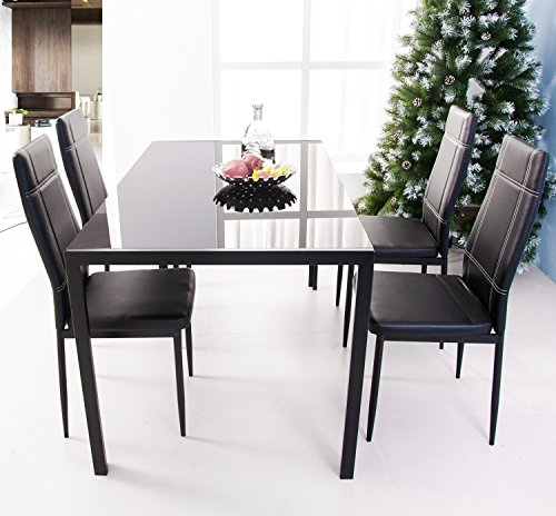 3pc Black Temper Glass Tops Metal Legs Coffee Table W: Merax 47 Inch Contemporary Black Rectangle Dining Table