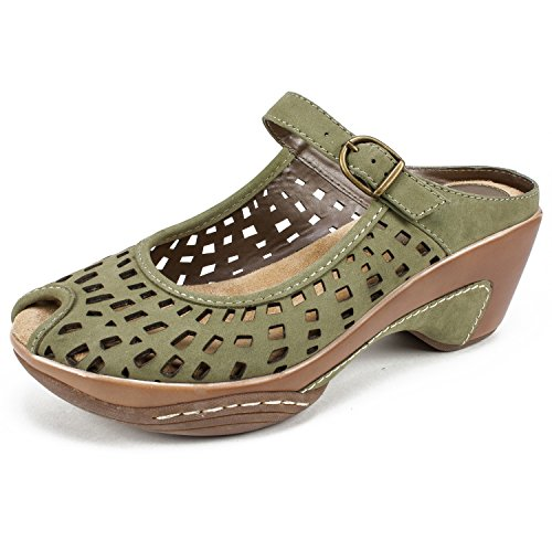 White Mountain Shoes MARVY Women's Mule, Olive/Nubuck, 7 M (Shoes Women Mountain White)