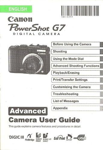 canon powershot g7 original advanced camera user guide instruction rh amazon com canon powershot g7 user guide canon powershot g7 x mark ii manual