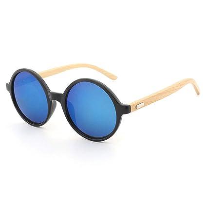 af5ea56e0a Gafas sol Redondas del Marco Retro Gafas Vintage Look Quality UV400 Hombres  Mujeres Unisex Gafas clásicas Gafas de bambú (Color : La Plata): Amazon.es:  ...
