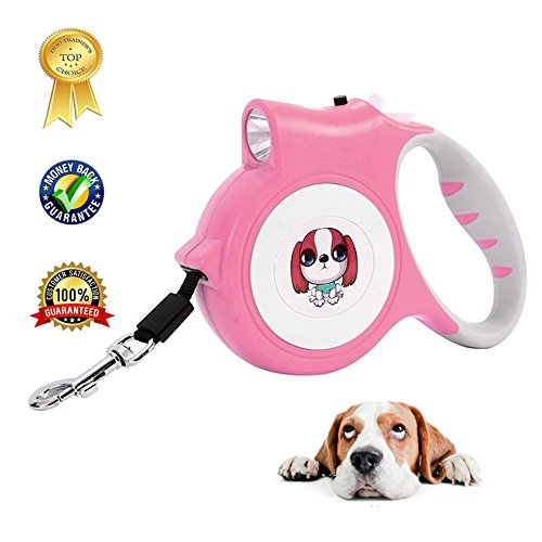 Retractable Dog Leash For Small Dog Led Flashlight Holder For Walking Safety,Easy Grip Tape,Quick Release Mechanism 16 Ft Led Dog Walking Leash For Medium Small Dogs,Pink Pet Leash Retractable by HYTONG