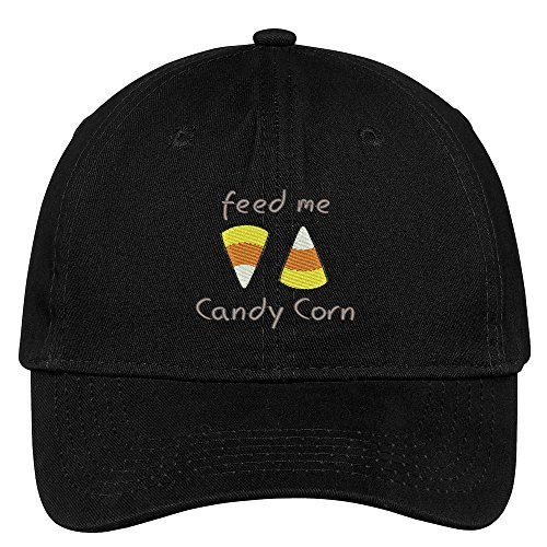 Trendy Apparel Shop Feed Me Candy Corn Embroidered Halloween Themed Cotton Baseball Cap - Black