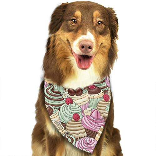 OURFASHION Tempting Dessert One by One Bandana Triangle Bibs Scarfs Accessories for Pet Cats and Puppies.Size is About 27.6x11.8 Inches -