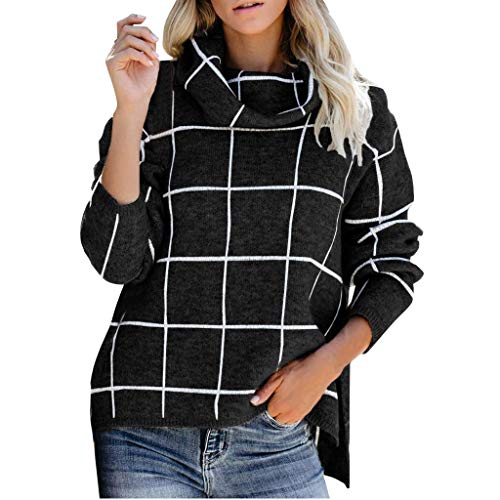 AIUSD Women Blouse and Tops, Women's Turtleneck Sweater for Ladies Girls Casual Loose Long Sleeve Plaid Loose Chunky Knit Pullover Solid Color Blouse Tops Women Blouse Long Sleeve Big Sales (White Garden Furniture Uk Metal)
