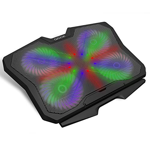 GARUNK Laptop Cooler Cooling Pad for 13.3-17.3 inch Laptop / PS4 with 4 Quite 125mm Fans at 1500 PRM and Colorful LED, Dual USB 2.0 Ports and Adjustable Mount Stand, Black