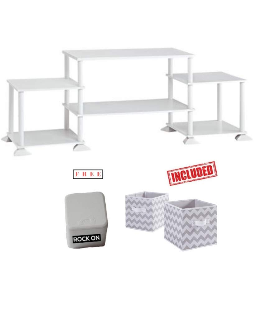 Mainstay` No-Tool Assembly 3-Cube Entertainment Center for TVs up to 40 in White Finish with Set of 2 Bins Included and Free!