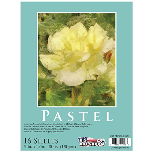 us-art-supply-9-x-12-premium-pastel-paper-pad-80-pound-180gsm-assorted-natural-tone-colors-pad-of-16